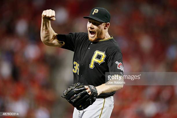 Mark Melancon of the Pittsburgh Pirates celebrates after the final out of the game against the Cincinnati Reds at Great American Ball Park on July 31...