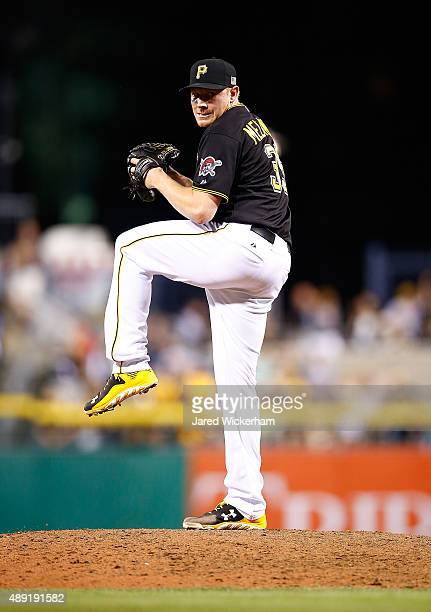 Mark Melancon of the Pittsburgh Pirates in action against the Chicago Cubs during game two of the doubleheader at PNC Park on September 15 2015 in...