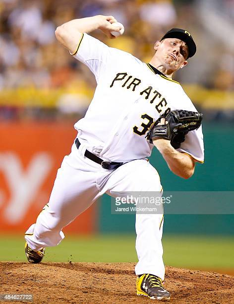 Mark Melancon of the Pittsburgh Pirates in action against the Los Angeles Dodgers at PNC Park on August 7 2015 in Pittsburgh Pennsylvania