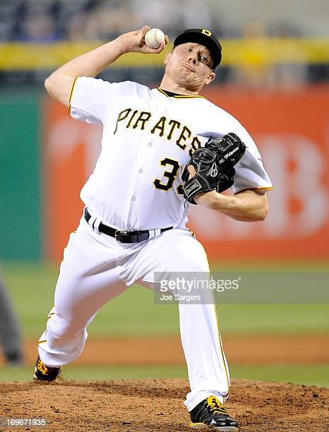 Mark Melancon of the Pittsburgh Pirates pitches against the Chicago Cubs on May 22 2013 at PNC Park in Pittsburgh Pennsylvania