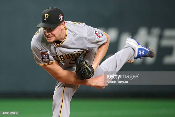 Mark Melancon of the Pittsburgh Pirates pitches in the nineth inning during the game five of Samurai Japan and MLB All Stars at Sapporo Dome on...