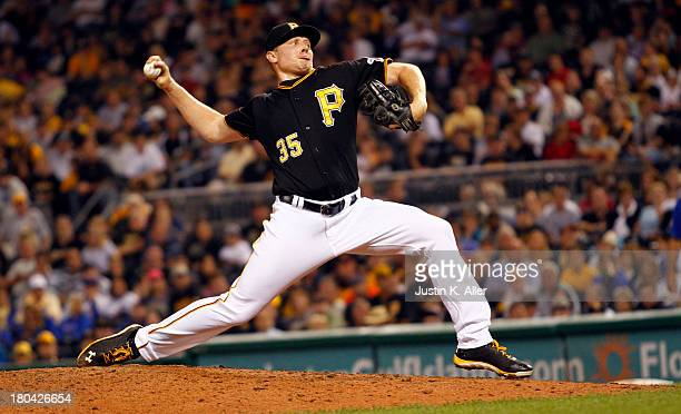 Mark Melancon of the Pittsburgh Pirates pitches in the ninth inning against the Chicago Cubs during the game on September 12 2013 at PNC Park in...