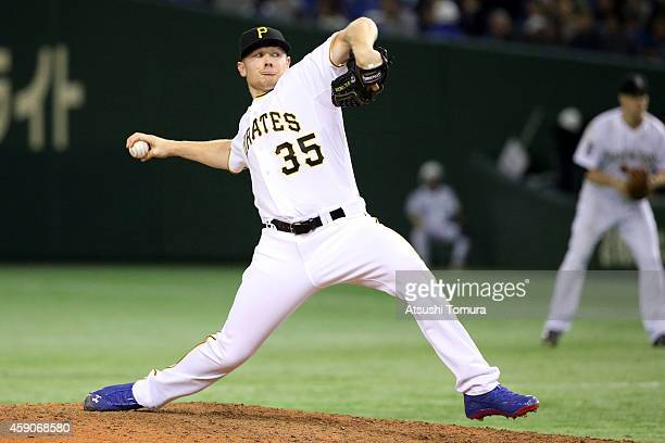 Mark Melancon of the Pittsburgh Pirates pitches in the ninth inning during the game four of Samurai Japan and MLB All Stars at Tokyo Dome on November...