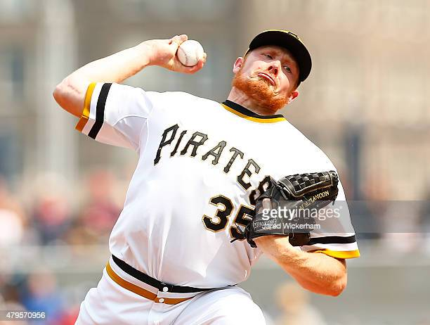 Mark Melancon of the Pittsburgh Pirates pitches in the ninth inning against the Cleveland Indians during the game at PNC Park on July 5 2015 in...