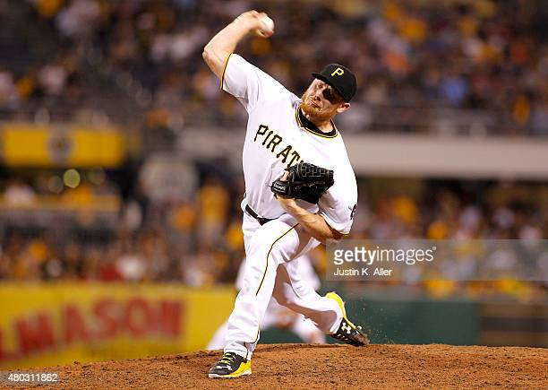 Mark Melancon of the Pittsburgh Pirates pitches in the ninth inning during the game against the St Louis Cardinals at PNC Park on July 10 2015 in...