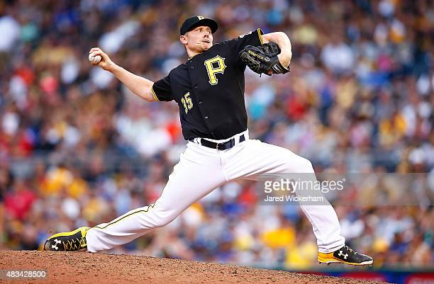 Mark Melancon of the Pittsburgh Pirates pitches in the ninth inning against the Los Angles Dodgers during the game at PNC Park on August 8 2015 in...