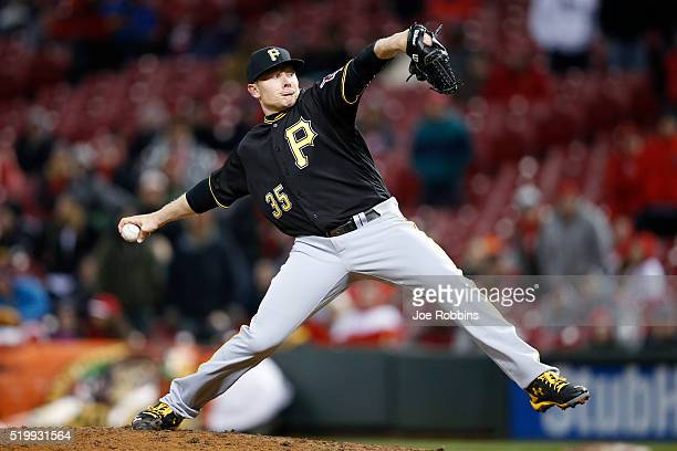 Mark Melancon of the Pittsburgh Pirates pitches in the ninth inning of the game against the Cincinnati Reds at Great American Ball Park on April 8...