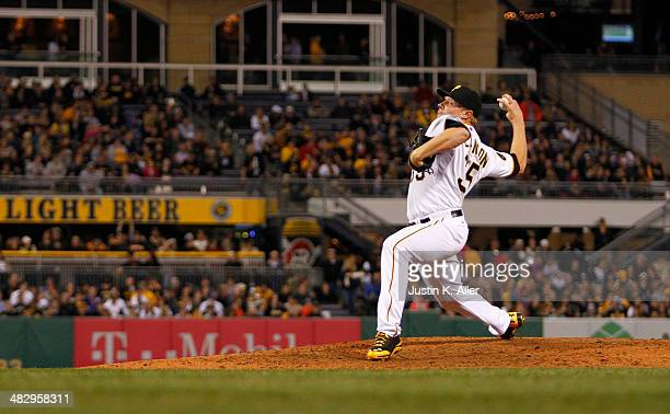 Mark Melancon of the Pittsburgh Pirates plays against the Chicago Cubs during the game at PNC Park April 2 2014 in Pittsburgh Pennsylvania