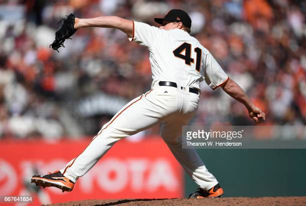 Mark Melancon of the San Francisco Giants pitches against the Arizona Diamondbacks in the top of the ninth inning on opening day at ATT Park on April...