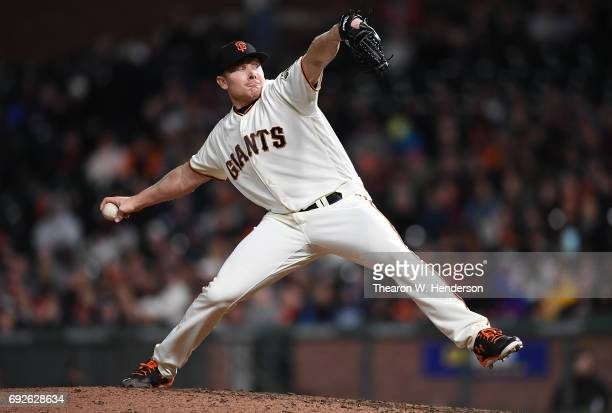 Mark Melancon of the San Francisco Giants pitches against the Washington Nationals in the top of the ninth inning at ATT Park on May 31 2017 in San...