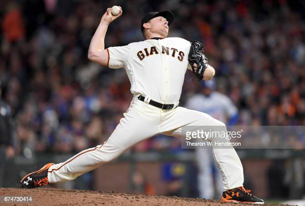 Mark Melancon of the San Francisco Giants pitches against the Los Angeles Dodgers in the top of the ninth inning at ATT Park on April 26 2017 in San...