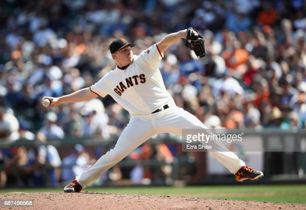 Mark Melancon of the San Francisco Giants pitches against the Los Angeles Dodgers at ATT Park on April 27 2017 in San Francisco California
