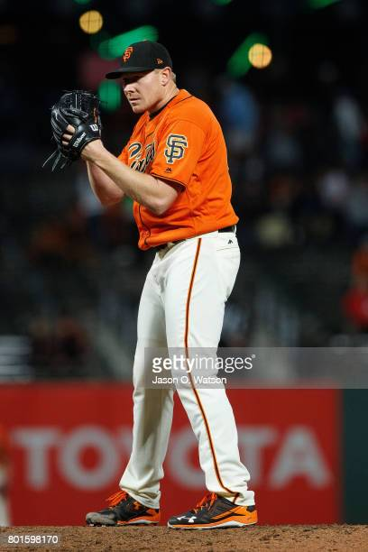 Mark Melancon of the San Francisco Giants pitches against the New York Mets during the ninth inning at ATT Park on June 23 2017 in San Francisco...