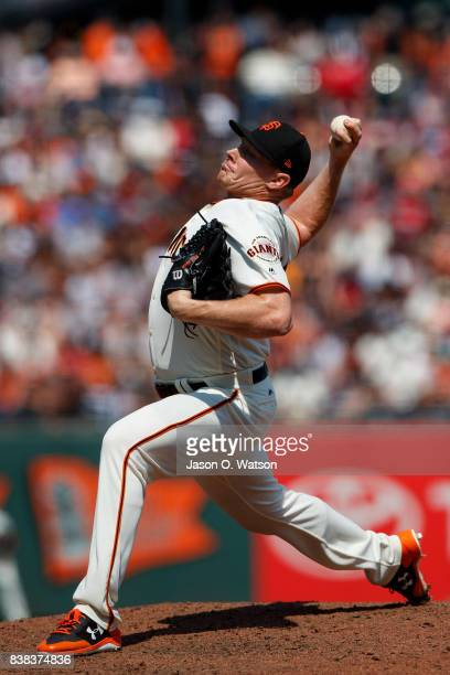 Mark Melancon of the San Francisco Giants pitches against the Philadelphia Phillies during the seventh inning at ATT Park on August 20 2017 in San...