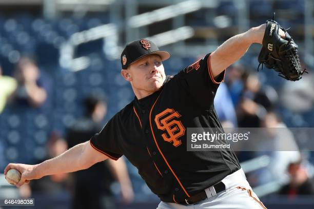 Mark Melancon of the San Francisco Giants pitches during a Cactus League spring training game against the San Diego Padres at Peoria Stadium on...