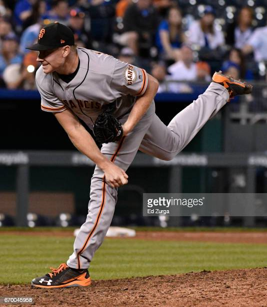 Mark Melancon of the San Francisco Giants pitches in the 11th inning against the Kansas City Royals at Kauffman Stadium on April 18 2017 in Kansas...