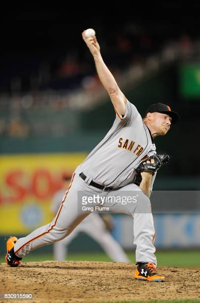 Mark Melancon of the San Francisco Giants pitches in the eighth inning against the Washington Nationals at Nationals Park on August 12 2017 in...
