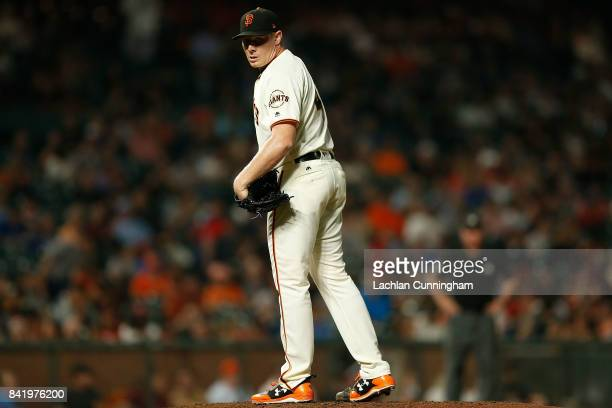 Mark Melancon of the San Francisco Giants pitches in the eighth inning against the St Louis Cardinals at ATT Park on August 31 2017 in San Francisco...