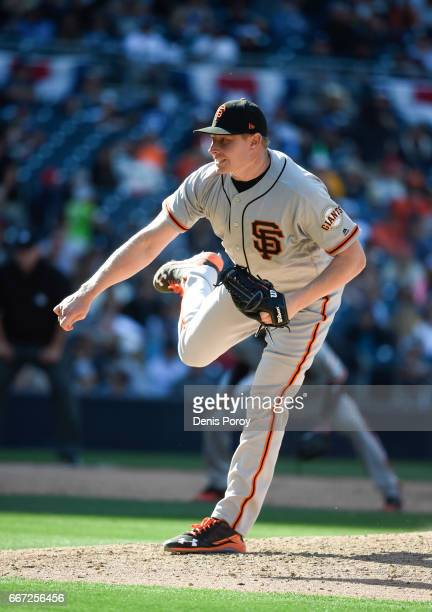 Mark Melancon of the San Francisco Giants plays during a baseball game against the San Diego Padres at PETCO Park on April 9 2017 in San Diego...