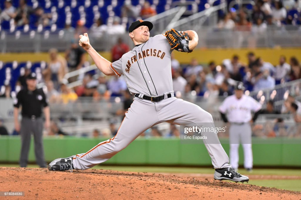 Mark Melancon #41 of the San Francisco Giants throws a pitch during the seventh inning against the Miami Marlins at Marlins Park on June 13, 2018 in Miami, Florida.
