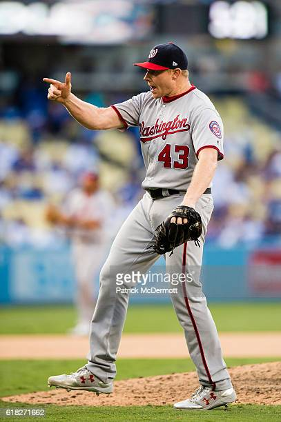 Mark Melancon of the Washington Nationals celebrates after the Nationals defeated the Los Angeles Dodgers 83 in game three of the National League...