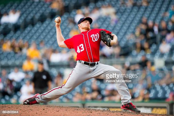 Mark Melancon of the Washington Nationals throws a pitch during a MLB basball game against the Pittsburgh Pirates at PNC Park on September 25 2016 in...