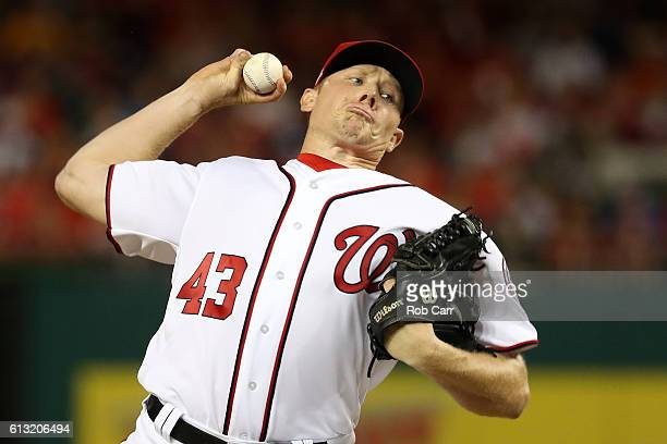 Mark Melancon of the Washington Nationals works against the Los Angeles Dodgers during the ninth inning in game one of the National League Division...