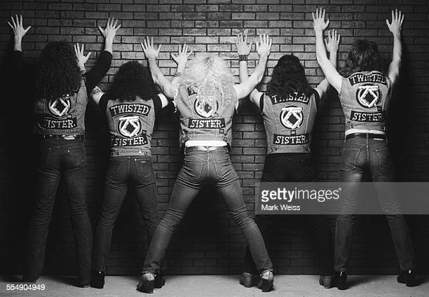 Mark Mendoza AJ Pero Dee Snider Eddie Ojeda and Jay Jay French of Twisted Sister group portrait outtake from the 'Stay Hungry' album cover shoot New...