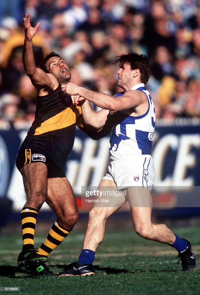 Mark Merenda of Richmond attempts to mark as David King of North Melbourne tries to spoil, in the match between Richmond and North Melbourne, during round 20 of the AFL season, played at the Melbourne Cricket Ground, Melbourne, Australia. MandatoryCredit: Hamish Blair/ALLSPORT
