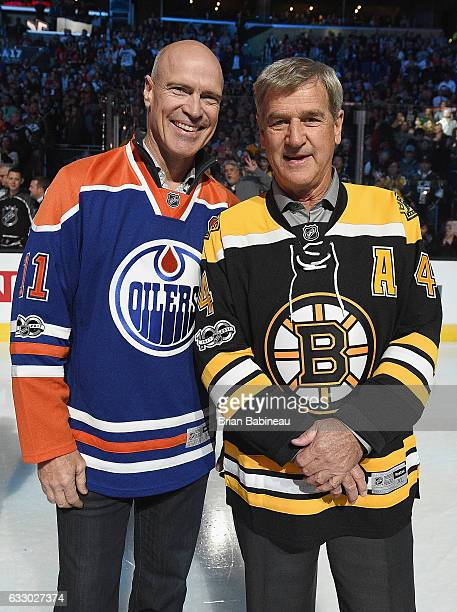 Mark Messier and Bobby Orr of the NHL 100 pose for a photo prior to the 2017 Honda NHL AllStar Game at Staples Center on January 29 2017 in Los...