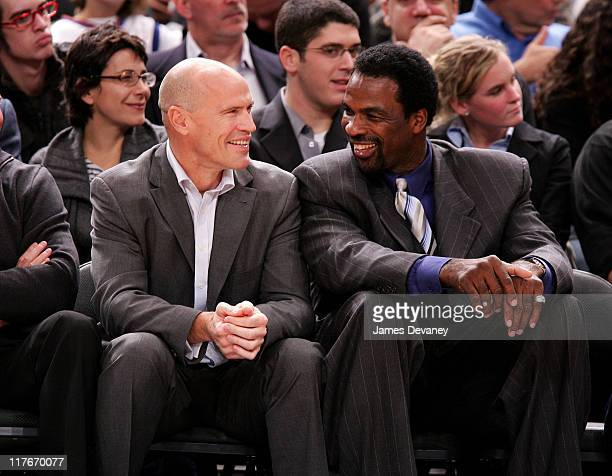 Mark Messier and Charles Oakley during Celebrities Attend Washington Wizards vs New York Knicks Game November 15 2006 at Madison Square Garden in New...