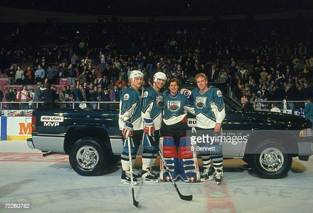 Mark Messier, goalie Mike Richter, Brian Leetch and Adam Graves of the Eastern Conference and the New York Rangers pose after Richter won the MVP of...