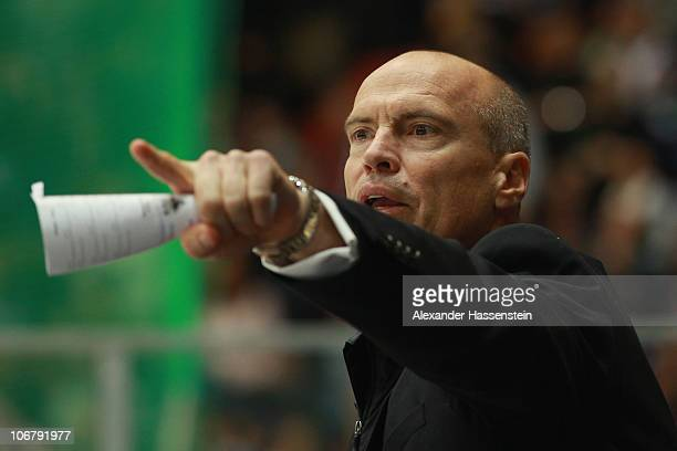 Mark Messier, head coach of Canada reacts during the German Ice Hockey Cup 2010 first round game between Germany and Canada at the Olympiahalle on...