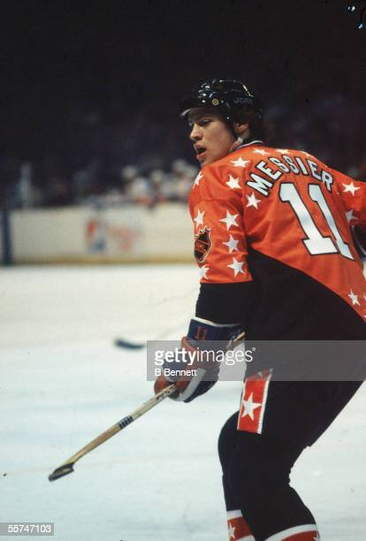 Mark Messier of the Campbell Conference and the Edmonton Oilers skates on the ice during the 1982 34th NHL All-Star Game against the Wales Conference...