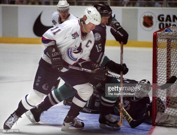 Mark Messier of the Canucks in action during the NHL game between Mighty Ducks of Anaheim and Vancouver Canucks at the Yoyogi National Gymnasium on...