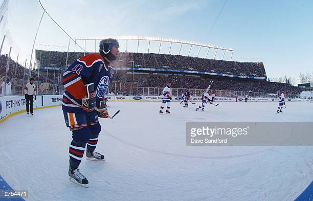 Mark Messier of the Edmonton Oilers skates against the Montreal Canadiens during the Molson Canadien Heritage Classic Megastars Game on November 22...