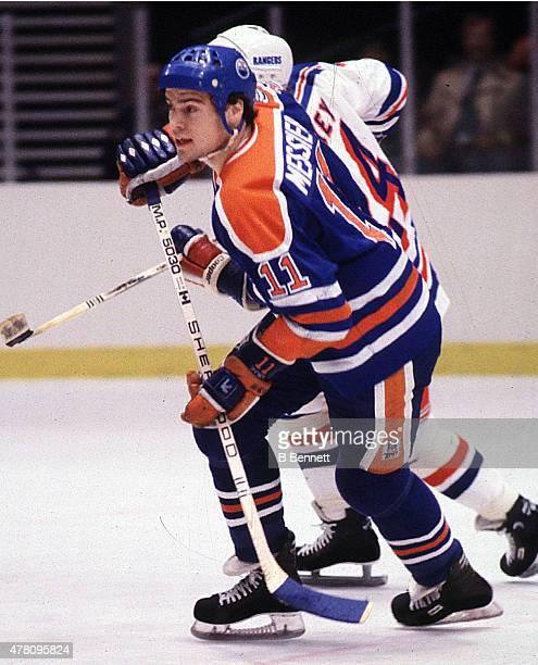 Mark Messier of the Edmonton Oilers skates against the New York Rangers on January 1 1980 at Madison Square Garden in New York New York