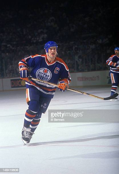 Mark Messier of the Edmonton Oilers skates on the ice during an NHL game circa 1989