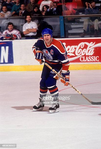 Mark Messier of the Edmonton Oilers skates on the ice during an NHL game against the New York Rangers on January 15 1991 at the Madison Square Garden...