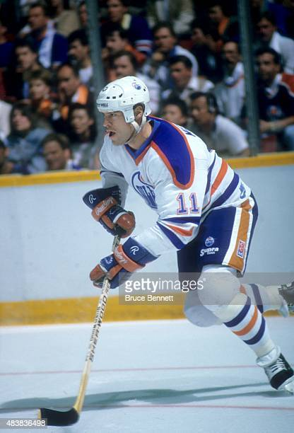 Mark Messier of the Edmonton Oilers skates on the ice during the 1988 Stanley Cup Finals against the Boston Bruins in May, 1988 at the Northlands...