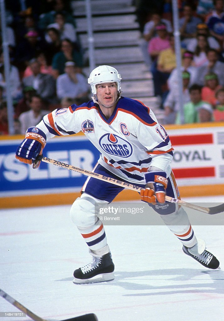 Mark Messier #11 of the Edmonton Oilers skates on the ice during the 1990 Stanley Cup Finals against the Boston Bruins in May, 1990 at the Northlands Coliseum in Edmonton, Alberta, Canada.