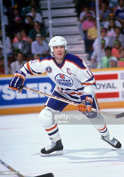 Mark Messier of the Edmonton Oilers skates on the ice during the 1990 Stanley Cup Finals against the Boston Bruins in May, 1990 at the Northlands...
