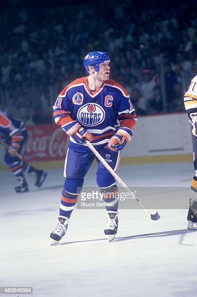 Mark Messier of the Edmonton Oilers skates on the ice during the 1990 Stanley Cup Finals against the Boston Bruins in May, 1990 at the Boston Garden...
