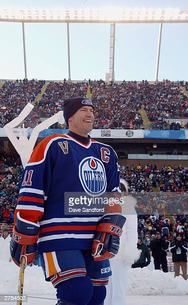 Mark Messier of the Edmonton Oilers skates onto the ice before taking on the Montreal Canadiens during the Molson Canadien Heritage Classic Megastars...