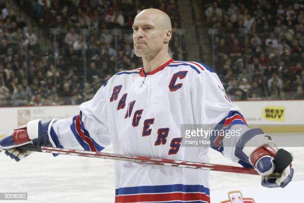Mark Messier of the New York Rangers looks on during the NHL AllStar Super Skills Competition on February 7 2004 at the Xcel Energy Center in St Paul...
