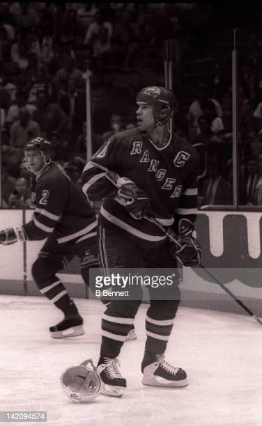 Mark Messier of the New York Rangers watches the play during Game 6 of the Eastern Conference Finals against the New Jersey Devils on May 25 1994 at...