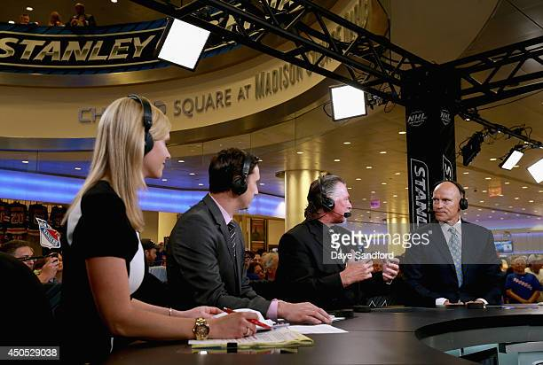 Mark Messier speaks to hosts Barry Melrose Mike Johnson and Kathryn Tappen on the set of NHL Network Live show before Game Three of the 2014 Stanley...