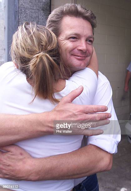 Mark Middleton is hugged by supporter Jessica McVicar as he walks free from the Auckland District Court after receiveing a 9 month suspended sentence...