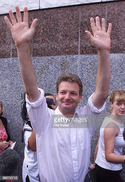 Mark Middleton walks free from the Auckland District Court after receiveing a 9 month suspended sentence in force for two years for threating to kill...