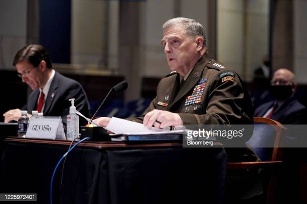 Mark Milley chairman of the joint chiefs of staff speaks during a House Armed Services Committee hearing in Washington DC US on Thursday July 9 2020...